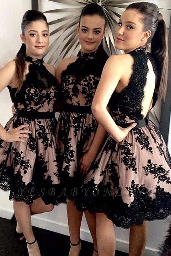 Halter Applique Short Sleeveless High-Neck A-Line Bridesmaid Dresses