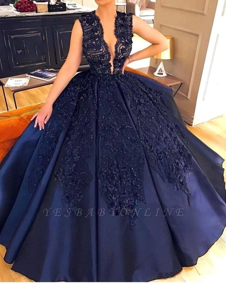 Elegant Dark-Navy Appliques Evening Dresses | Sleeveless Ball Gown Prom Dresses