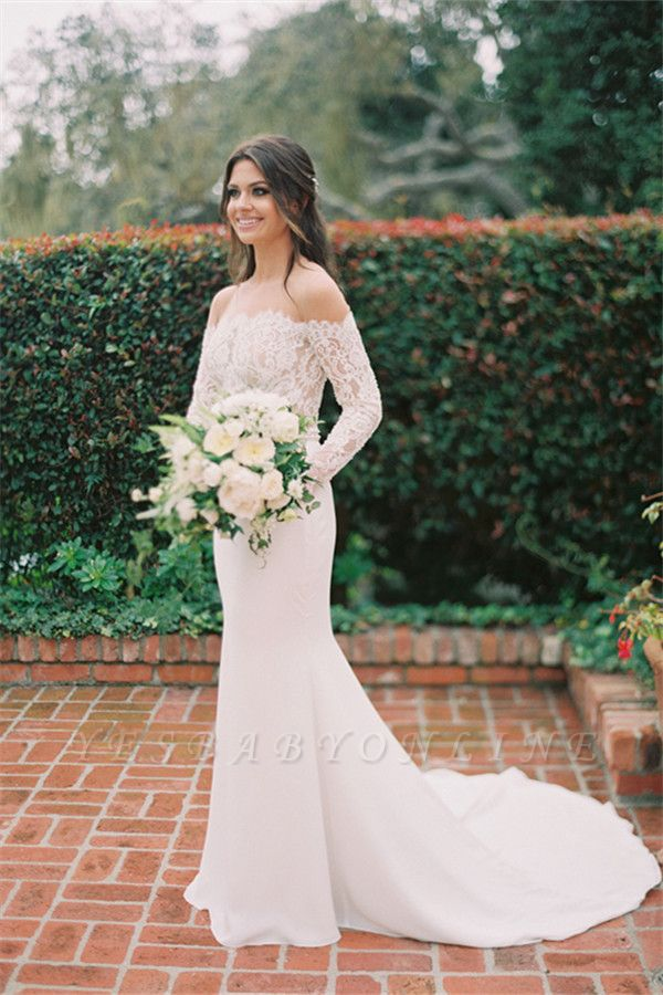 Simple Styl Long Jewel Long Sleeve Lace Mermaid Wedding Dresses   Beaded Wedding Gown