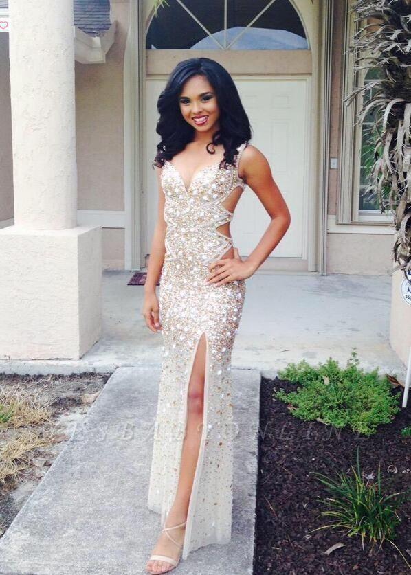 V-neck Sleeveless Floor-length Front-Split Crystals Gorgeous Prom Dress
