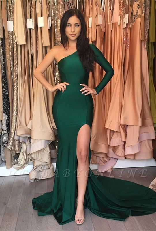 Front-Split One-Shoulder Sweep-Train Sexy Mermaid Prom Dress