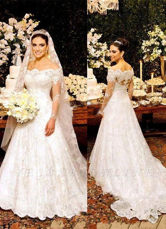 Lace Zipper Button Long Sleeves Glamorous Wedding Dress