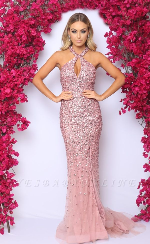 Pink Halter Mermaid Evening Dress 2019 | Sexy Crystal Side Slit Cheap Prom Dresses