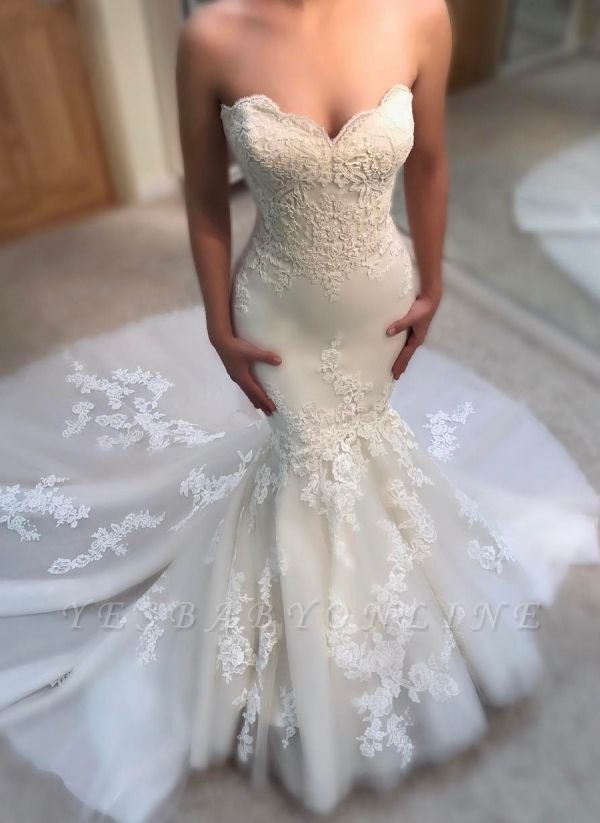 Glamorous Summer Sexy Mermaid Wedding Dresses | Sweetheart Lace Appliques Bridal Gowns