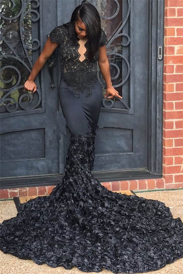 Long Mermaid Lace Prom Dresses | Black Flowers Short Sleeves Evening Dresses
