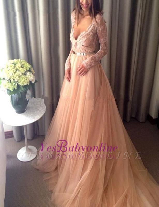Tulle Beautiful Lace Long-Sleeve V-Neck Long Evening Dress