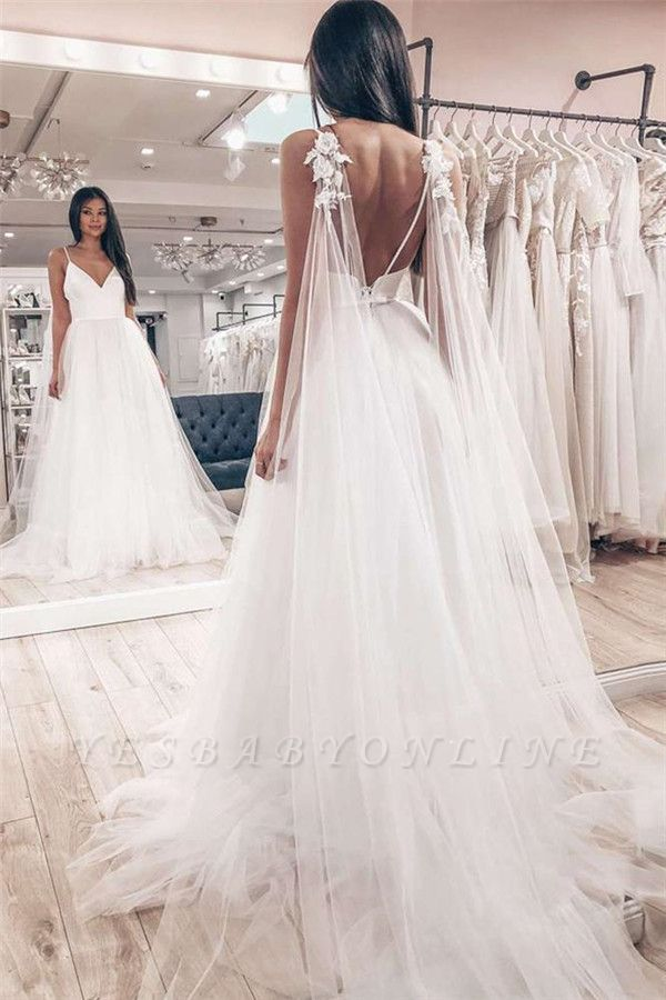Sexy Spaghetti Strap V Neck Backless Flower Tulle Wedding Dresses