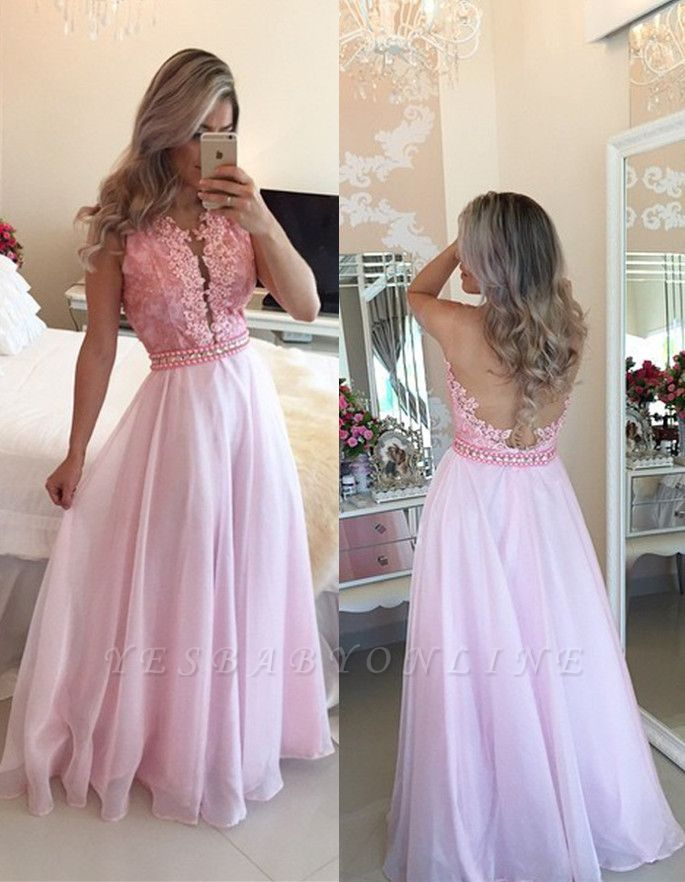 Crystal A-Line Sexy Appliques Sheer-Tulle Pink Prom Dresses