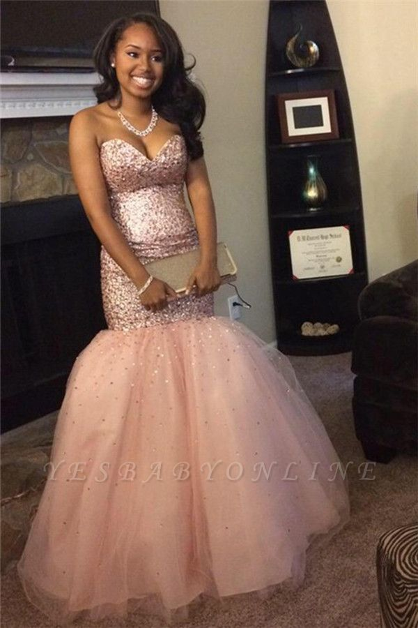 Sweetheart Sleeveless Pink Gorgeous Mermaid Sequins Tulle Prom Dresses