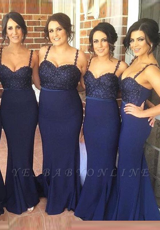 Gorgeous Navy Spaghetti Strap Bridesmaid Dress Lace Beadings Long Wedding Party Dress