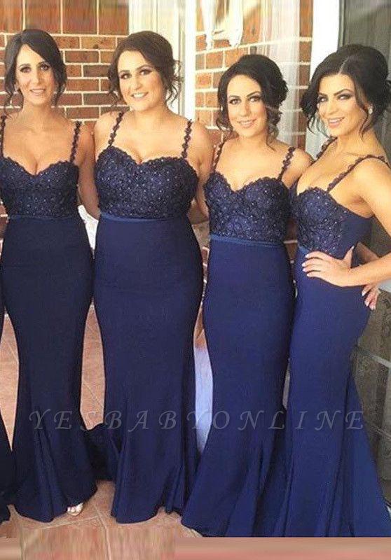 Gorgeous Navy Spaghetti Strap Bridesmaid Dress Lace Beadings Long Wedding Party Dress