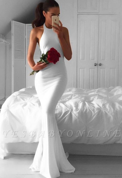 Sweep-Train White Sexy Mermaid Halter Sexy Sleeveless Prom Dress