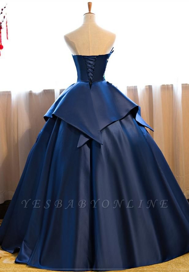 Strapless Embroidery Dark-Blue Peplum Puffy Elegant Prom Dresses