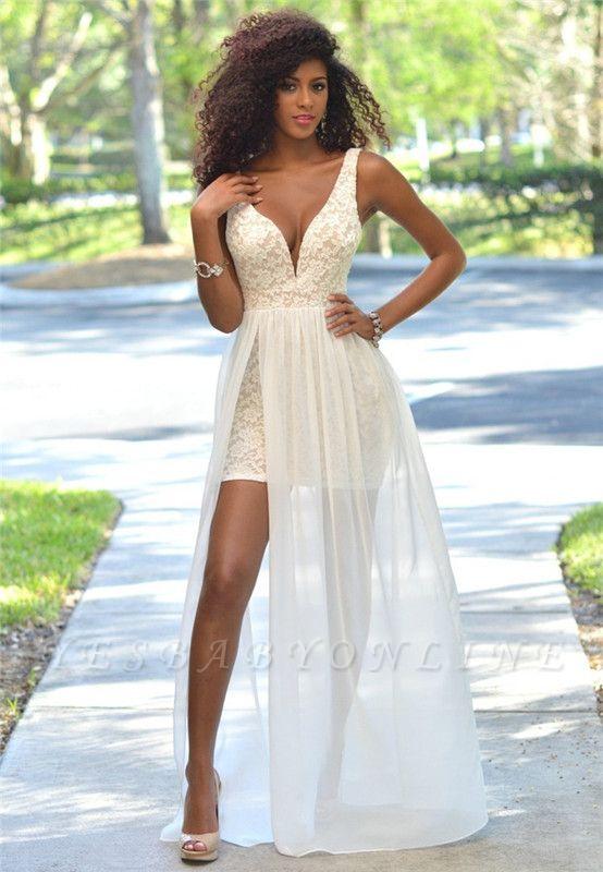 Sheath Sleeveless Sexy Open-Back Lace Deep-V-Neck Prom Dress