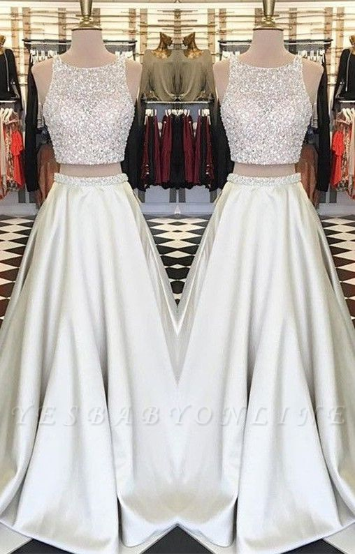 A-line Sleeveless Two-Piece Gorgeous Jewel Crystals Prom Dress