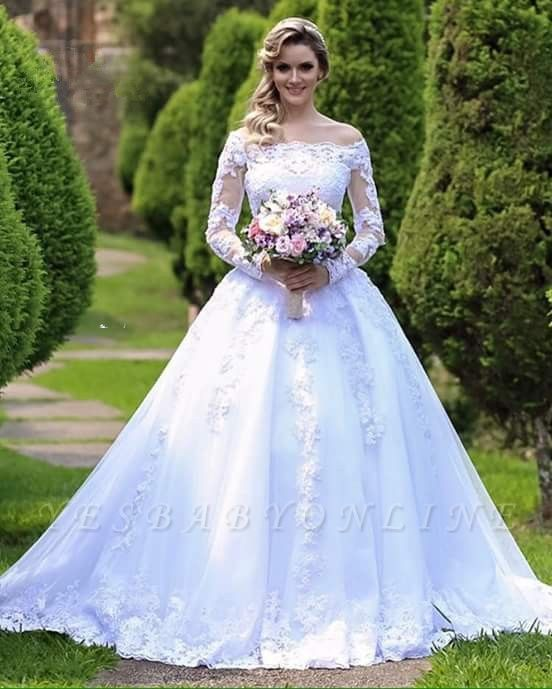 Gorgeous Princess Long Sleeves Zipper Lace Wedding Dress with Button