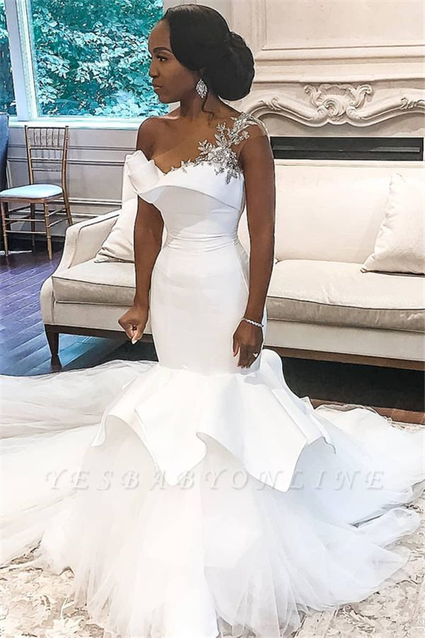 One Shoulder Applique Fit And Flare Ruffles Mermaid Wedding Dresses