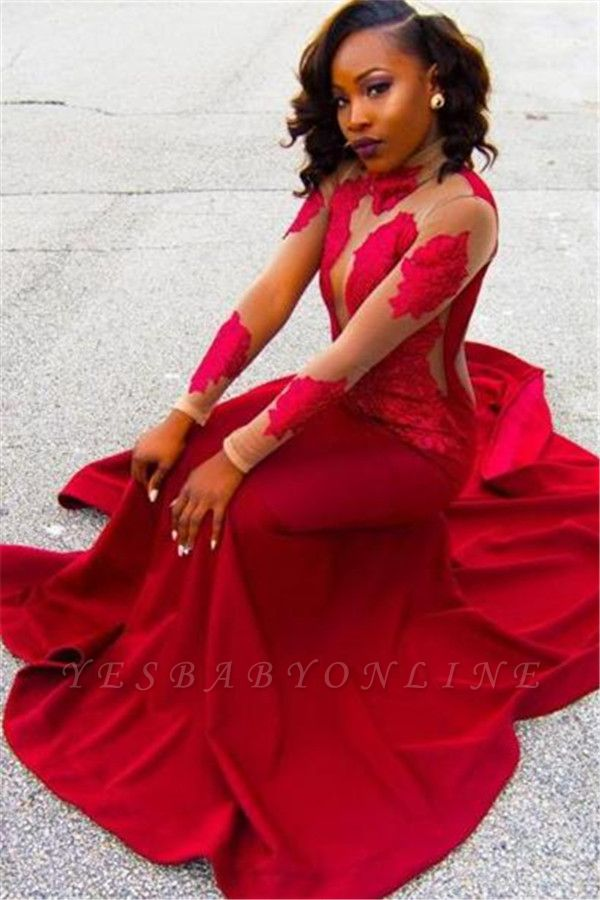 Poprlar Long-Sleeve Sheath High-Neck Red Appliques Lace Prom Dress