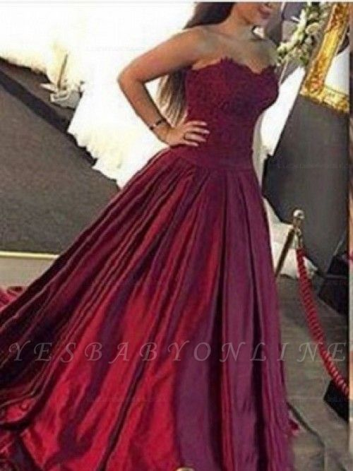 Lace-Applique Burgundy Ball-Gown Elegant Sweetheart Prom Dresses