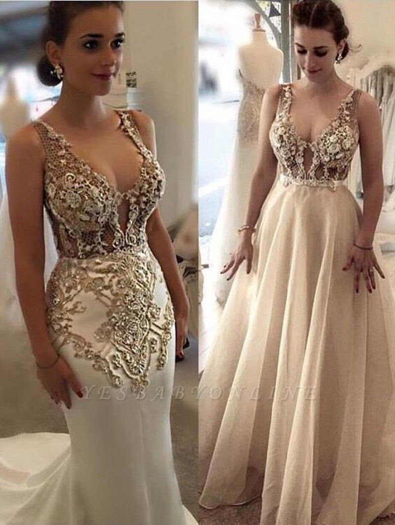 Luxury Mermaid Evening Dress With Detachable Overskirt | Straps Lace Appliques See Through Formal Dresses
