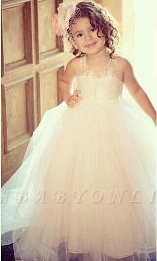 Lovely Lace Tulle Pearls Beaded Long Flower Girl Dresses with Bow