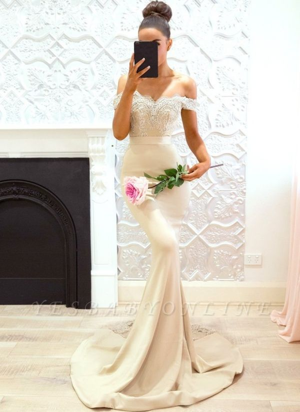 Elegant Off-the-Shoulder Prom Dresses | Sleeveless Mermaid Bridesmaid Dresses
