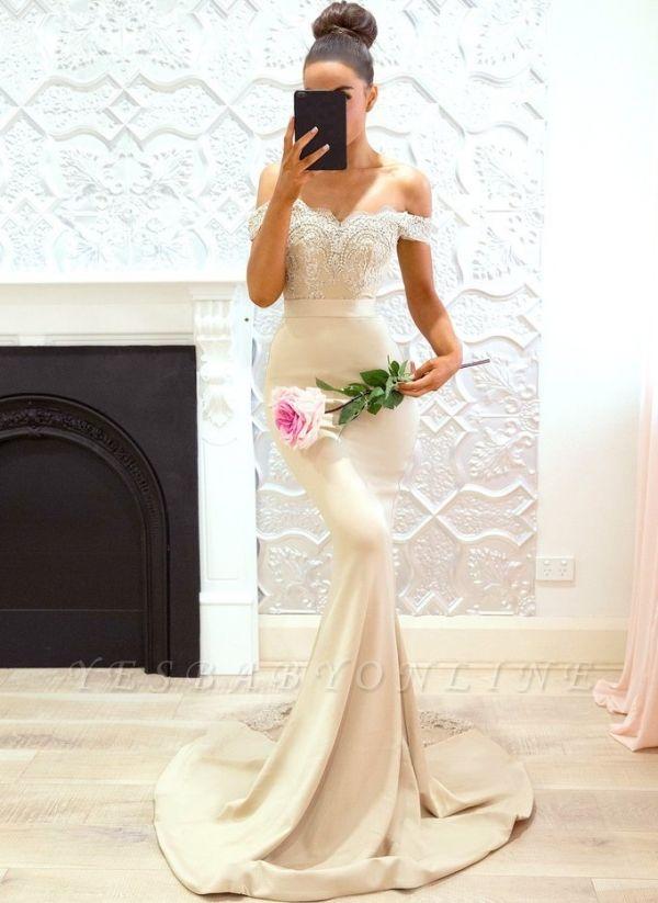 Elegant Off-the-Shoulder Prom Dresses | Sleeveless Mermaid Bridesmaid Dresses