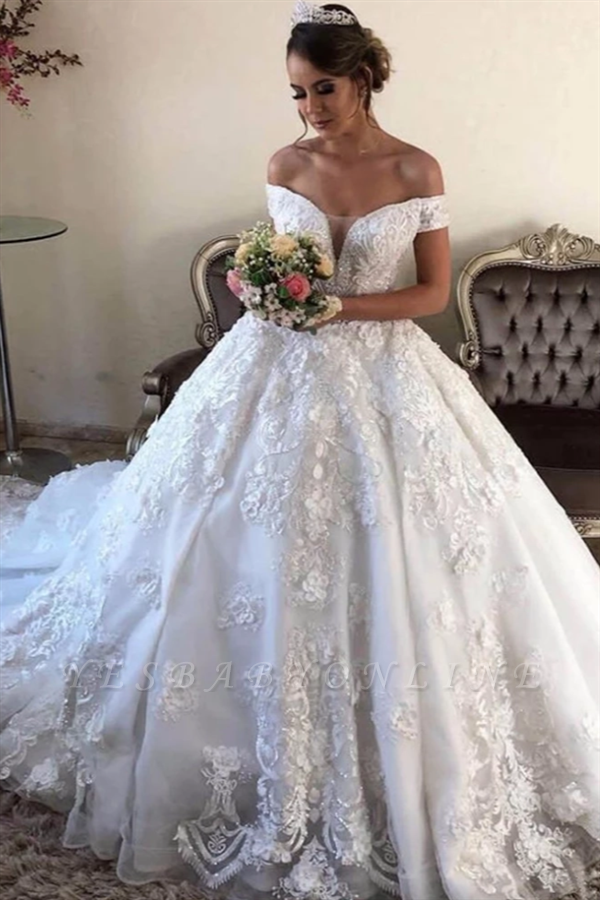 Off the Shoulder Gorgeous Lace Wedding Dresses in Ball Gown Style