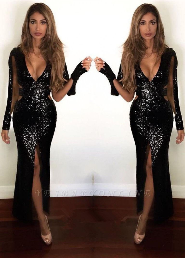 Sexy Front Split Sequins Black Long Prom Dresses