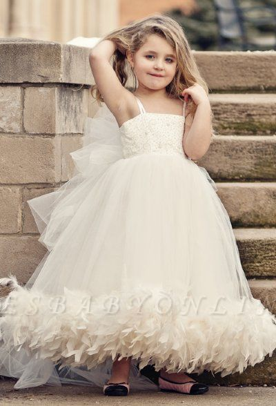 Spaghettis Straps Tulle Feathers Sweet Flower Girl Dresses | Long Girl's Formal Dresses