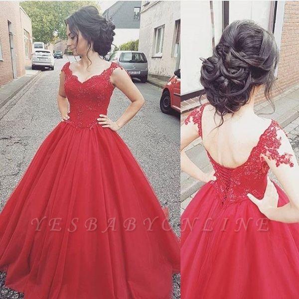 Lace Modern Lace-up  Sleeveless Straps Prom Dress