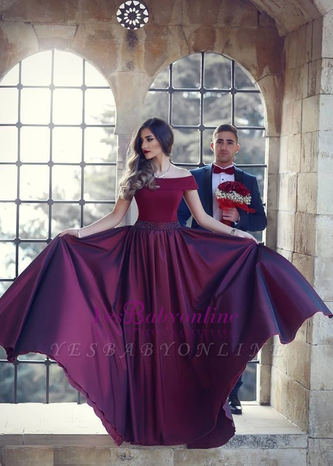 Wine A-Line Off-the-shoulder Floor-Length Beautiful Evening Dress