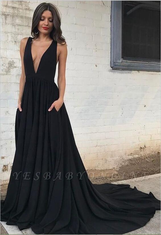 Black V-neck Sleeveless Straps Sexy Backless A-line Prom Dress