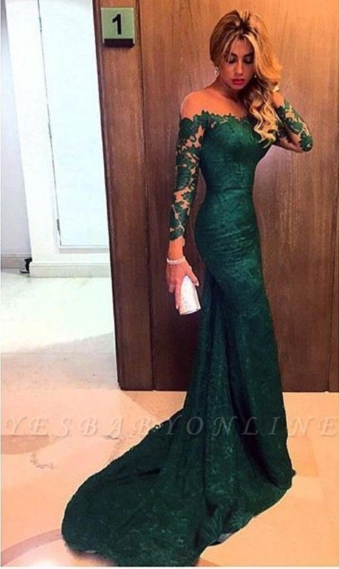 2019 Dark Green Lace Prom Dresses Long Sleeves Mermaid Evening Gowns