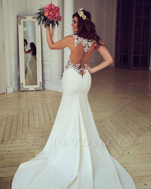 Cutaway-Sides Sheer Mermaid Lace Sexy Wedding Dresses