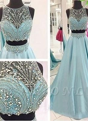 Long Blue Beaded Two-Piece Elegant Crystals Prom Dresses
