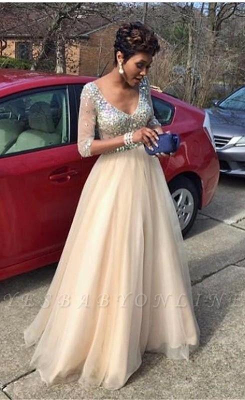 Crystal Glamorous Floor-Length V-Neck  Half-Sleeves Prom Dress