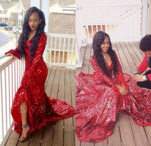 Hi-Lo Sweep-Train Long-Sleeve Red Sequined Gorgeous Mermaid Prom Dress