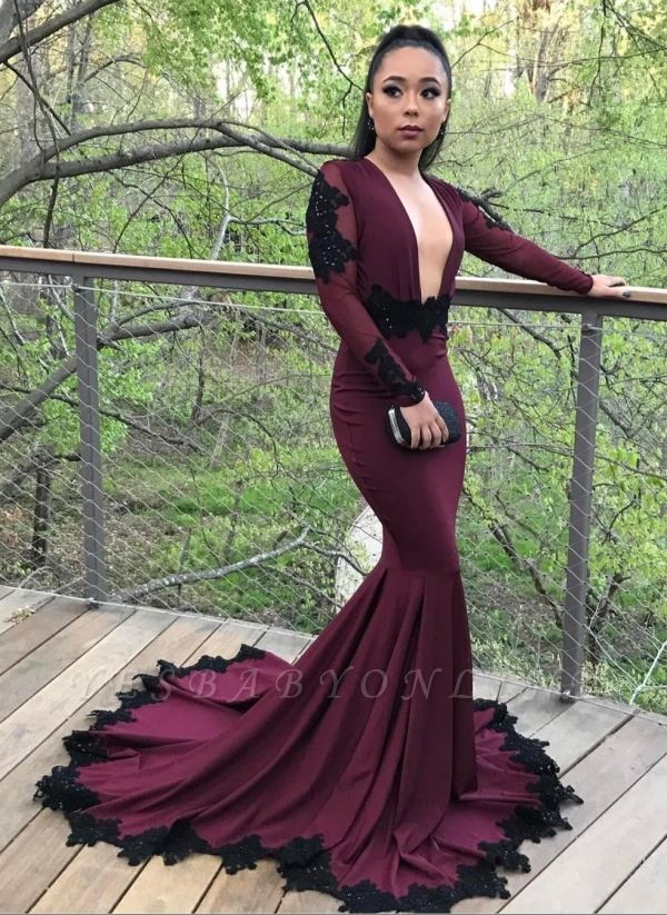 Sexy Long Sleeves Prom Dresses | Deep V-Neck Evening Gowns with Lace Appliques