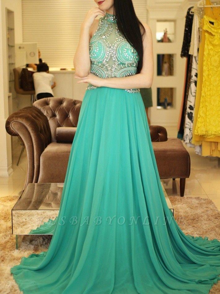 Bodice Illusion  Beading Halter A-Line Sexy Prom dresses