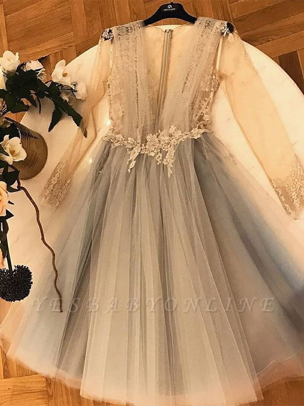 Chic A-Line  Homecoming Dresses | V-Neck Long Sleeves Lace Applique Cocktail Dresses