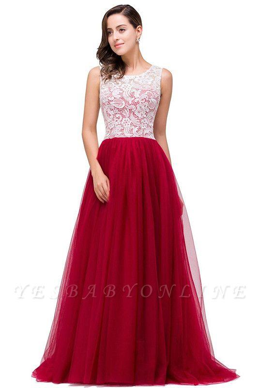 Elegant Red  Evening Gowns Sleeveless Floor-Length A-Line Prom Dress