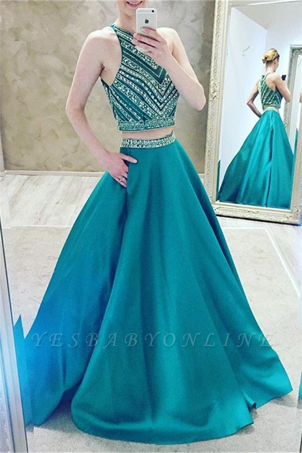 Luxury Halter Sleeveless Two-Pieces A-Line Crystal Prom Dress
