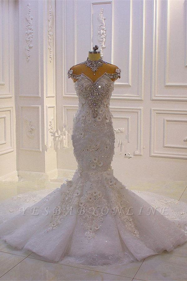 Stunning Beading High Neck Cap Sleeve Open Back Flower Mermaid Fit And Flare Wedding Dresses