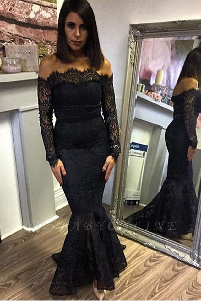 Elegant Off-the-shoulder Prom Dresses | Black Lace Mermaid Evening Dresses
