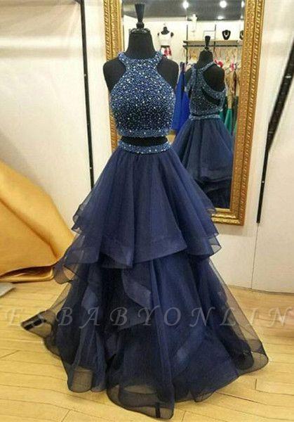 Sleeveless Crystals Modest Two-Piece Jewel Zipper Ruffles Prom Dress