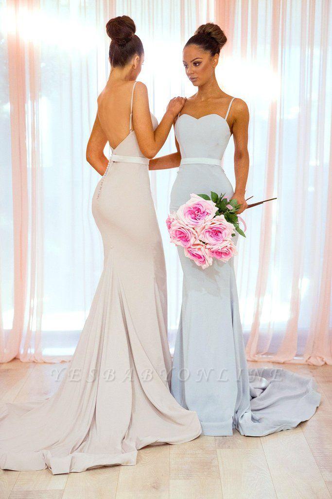 Sexy Spaghetti-Strap Bridesmaid Dresses | Sleeveless Mermaid Wedding Party Dresses