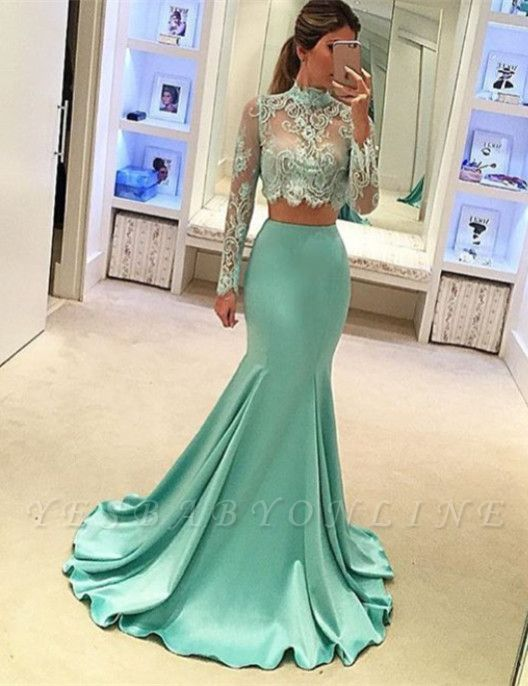 Mint Two-Piece Prom Dresses Sheer Lace Appliques High Neck Long Sleeves Sexy Mermaid Evening Gowns