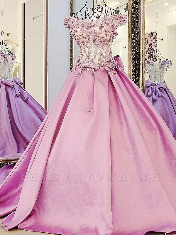 Off-The-Shoulder Flowers Pink Puffy Applique Beaded Bows Prom Dresses