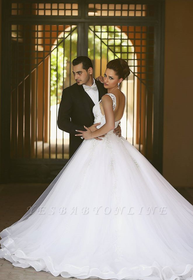 Charming Straps Beaded Ball-Gown Lace-Appliques Wedding Dresses